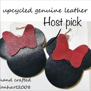 2/$25 upcycled leather Minnie Mouse earrings